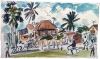 <b>barbados street scene</b>      wax crayon & watercolour   30 x 50 cms   £120‐Greg Poole