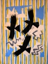 43‐1574 <b>alpine choughs 2</b>  woodcut & collage 70 x 53 cms £280‐Greg Poole