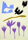 43‐1575 <b>alpine choughs & autumn crocus 1</b>  monoprint 38 x 28 cms £200‐Greg Poole