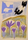 43‐1576 <b>alpine choughs & autumn crocus 2</b>  monoprint 38 x 28 cms SOLD‐Greg Poole
