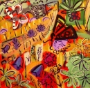 43‐1579 <b>alpine insects & flora</b>  acrylic 59 x 56 cms SOLD‐Greg Poole
