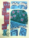 43‐1588 <b>martagon lily & rhododendron</b>  woodcut 70 x 53 cms £280&#8208;Greg&nbsp;Poole