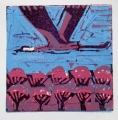 66‐3441 <b>crane over blossoming orchard</b>  monoprint 21 x 21 cms ‐Greg Poole
