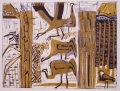 66‐3443 <b>cranes, kingfisher & spur-winged plover, hula valley</b>  monoprint 57 x 76 cms &#8208;Greg&nbsp;Poole