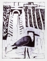 66‐3445 <b>spur-winged plover & ditch</b>  monoprint c. A4 (29.7 x 21cms) ‐Greg Poole