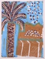 66‐3452 <b>storks over west bank</b>  monoprint 49 x 38 cms ‐Greg Poole