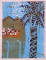 66‐3454 <b>storks over west bank</b>  monoprint c. A4 (29.7 x 21cms) &#8208;Greg&nbsp;Poole