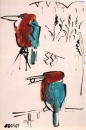 66‐7190 <b>white-breasted kingfisher</b> hula vallery, israel gouache & indian ink 36 x 28 cms NOT AVAILABLE‐Greg Poole