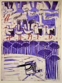 66‐3456<b>pied kingfisher, papyrus & storks</b>monoprint76 x 57 cms‐GregPoole