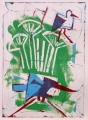 66‐3457 <b>smyrnah kingfisher & stork</b>  monoprint 34 x 24 cms ‐Greg Poole