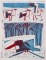 66‐3458 <b>smyrnah kingfisher & storks</b>  monoprint 50 x 38 cms ‐Greg Poole