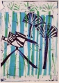 66‐3459 <b>pied kingfisher & papyrus</b>  monoprint 34 x 24 cms ‐Greg Poole
