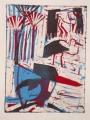 66‐3462<b>smyrnah kingfisher, papyrus & storks</b>monoprint27 x 20 cms‐GregPoole