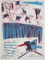 66‐3463<b>smyrnah kingfisher, papyrus & storks</b>monoprint76 x 57 cms&#8208;Greg&nbsp;Poole