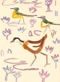 212&#8208;6883&emsp;<b>jacana & yellow wagtails</b>&emsp;djoudj gainthe&emsp;gouache&emsp;38 x 28 cms&emsp;&#8208;Greg&nbsp;Poole