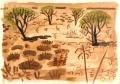 211&#8208;6862&emsp;<b>sand martins over sahel</b>&emsp;djoudj sahel&emsp;gouache&emsp;35 X 50 cms&emsp;&#8208;Greg&nbsp;Poole