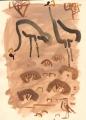 211&#8208;6863&emsp;<b>wheatear & crowned cranes</b>&emsp;djoudj sahel&emsp;gouache&emsp;38 x 28 cms&emsp;&#8208;Greg&nbsp;Poole