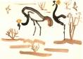 211&#8208;6860&emsp;<b>crowned cranes & sand martins</b>&emsp;djoudj sahel&emsp;gouache&emsp;35 X 50 cms&emsp;&#8208;Greg&nbsp;Poole