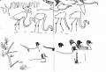 213‐6891<b>pintail, whistling duck, flamingos</b>djoudj grand lacink penA6 sketchbook‐GregPoole