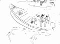 218&#8208;6952&emsp;<b>fishermen, sandwich tern & black-headed gull</b>&emsp;st louis&emsp;ink pen&emsp;A6 sketchbook&emsp;&#8208;Greg&nbsp;Poole