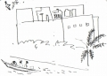 218‐6957 <b>pirogue & building study</b> st louis ink pen A6 sketchbook ‐Greg Poole