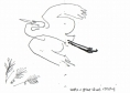 218‐6962 <b>great egret going to roost in casuarina</b> st louis ink pen A6 sketchbook ‐Greg Poole