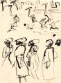 218&#8208;6964&emsp;<b>people, herons & gulls</b>&emsp;st louis&emsp;dip pen & indian ink&emsp;56 x 38 cms&emsp;&#8208;Greg&nbsp;Poole