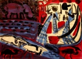 fishermen, herons & hippo ‐ monoprint & acrylic ‐ A1 (59.4 x 84 cms) ‐ £250 ‐‐GregPoole