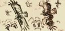 194‐6670<b>griffon vultures, kites & raven</b>extremadura, spaingouache18 x 38 cms£310‐GregPoole