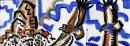 <b>griffon vultures 3</b>    acrylic  27 x 84 cms  £150‐GregPoole