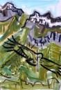 21‐4466<b>griffon vultures 3</b>acrylic27 x 84 cms£150‐GregPoole