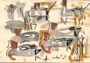 21‐4475<b>wigeon & pintail</b>gouache & wax crayon28 x 38 cms‐GregPoole