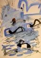 21‐4451<b>mute swan, coot, tufted duck, gadwall & pochard</b>gouacheA3 (42 x 29.7 cms)‐GregPoole