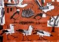 ba2  <b>bush crows, superb starlings, hornbills & wood hoopoe</b>  ethiopia  monotype  A1 (59.4 x 84 cms)  £350&#8208;Greg&nbsp;Poole