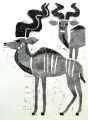 ma31  <b>kudu</b>  Etosha, Namibia  woodcut  84 x 59.4 cms (A1)  £220&#8208;Greg&nbsp;Poole