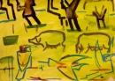 102‐5701<b>bee-eaters & pigs</b>acrylic & gouache29.7 x 42 cms (A3)£110‐GregPoole
