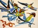102‐4211<b>bee-eaters 2</b>gouache & charcoalA2 (42 x 59.4 cms)SOLD‐GregPoole