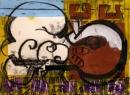 103‐5754<b>great bustard display</b>extremadura, spainacrylic & monoprint29.7 x 42 cms (A3)£150‐GregPoole