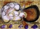 103‐5755<b>great bustard display</b>extremadura, spainacrylic & monoprint29.7 x 42 cms (A3)£150‐GregPoole