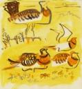 103‐5756<b>pin-tailed sandgrouse & great bustard</b>extremadura, spaingouache32 x 32 cms£160‐GregPoole