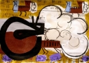 103‐5767<b>great bustard display</b>extremadura, spainacrylic & monoprint21 x 29.7cms (A4)£150&#8208;Greg&nbsp;Poole