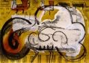 103‐5768<b>great bustard display</b>extremadura, spainacrylic & monoprint29.7 x 42 cms (A3)£150&#8208;Greg&nbsp;Poole