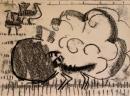 <b>great bustard display</b>    monoprint  A3 (29.7 x 42 cms)  £70&#8208;Greg&nbsp;Poole