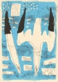 78‐5543 <b>2 gannets plunging (blue) 2</b>  monotype 29.7 x 21 cms (A4) £80‐Greg Poole
