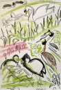 223‐7120 <b>grebes, coot & swan family</b> bristol reservoirs wax crayon 59.4 x 42 cms (c.A2) £POA‐Greg Poole
