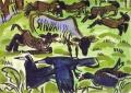 118‐4383<b>sheep moorhen rooks</b>30 x 42 cms£120‐GregPoole
