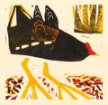 118‐6429<b>moorhen</b>woodcut26 x 26 cms‐GregPoole