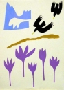 1‐4972 <b>alpine choughs & autumn crocus</b>  monoprint 38 x 28 cms £POA‐Greg Poole