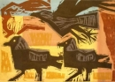 1‐4985 <b>crows & hare</b>  woodcut & acrylic 40 x 55 cms £POA‐Greg Poole