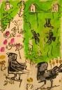 21‐4364<b>jackdaws, avon gorge</b>acrylic & gouache59.4 x 42 cms‐GregPoole